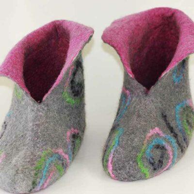 Vilten pantoffels grijs/rose